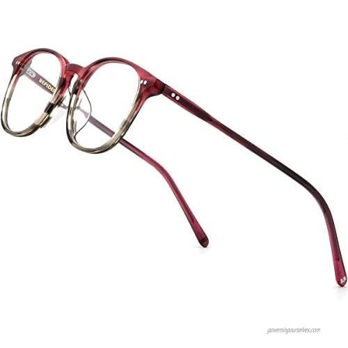 HEPIDEM Acetate Square Glasses for Men Women Retro Vintage Prescription Eyeglasses