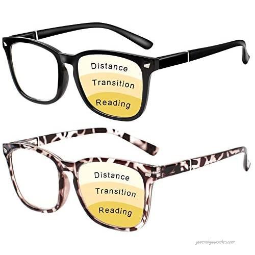 Progressive Multifocus Reading Glasses Women Men Blue Light Blocking  Anti Eye Strain/Glare/UV Filter Computer Readers