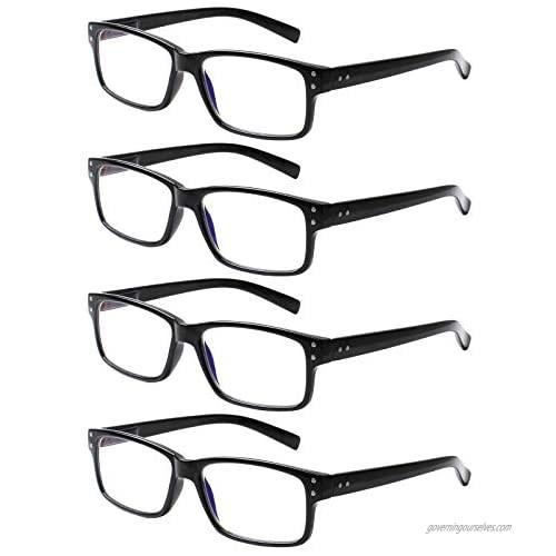 SIGVAN 4 Pairs of Reading Glasses Trendy Rectangle Frame Blue Light Blocking Computer Eyeglasses Readers Men and Women