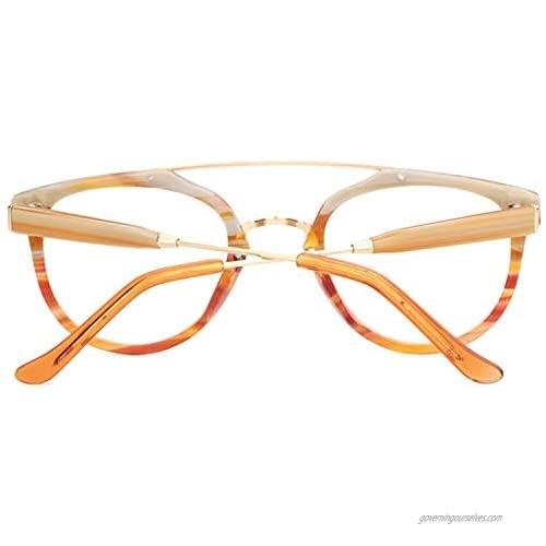 Zeelool Vintage Acetate Aviator Eyeglasses Frame for Men Full Rim Chic Non-Prescription Eyewear Watson FX0239