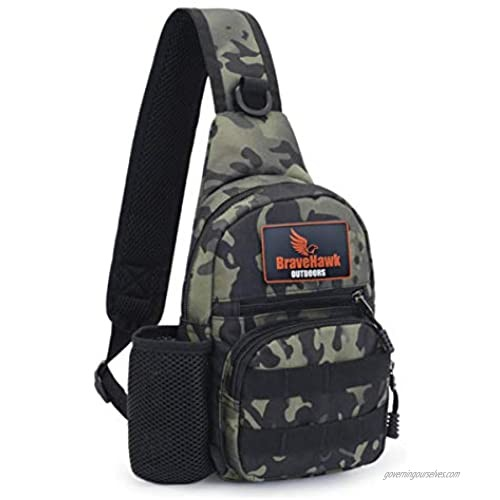 BraveHawk OUTDOORS Sling Chest Bag  900D Nylon Oxford Portable Tactical Waterproof Compact Crossbody Pack for Hiking Cycling