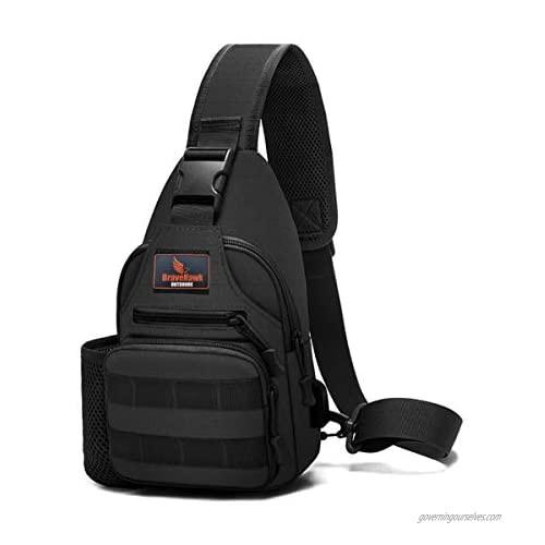 BraveHawk OUTDOORS Tactical Sling Shoulder Pack  Military Nylon EDC MOLLE Crossbody Chest Bag with Bottle Holder Daypack