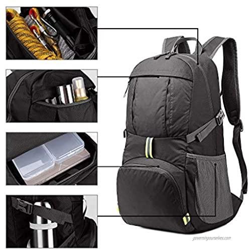Sarhlio Hiking Backpack Foldable Daypack 35L Lightweight Water Repellent for Travel EDC Black(BPK04C)