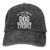 All I Care About is My Dog and Like Maybe 3 People Baseball Cap  Adjustable Washed Classic Vintage Denim Hat