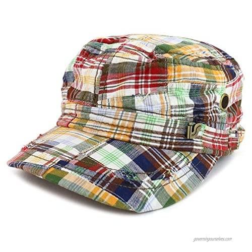 Armycrew Fashion Plaid Frayed Bill Flat Top Cotton Army Cap