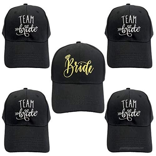 Funshow 5 Packs Bride Baseball Caps Embroidered Team Bride Hats for Bridal Shower Bachelorette Party