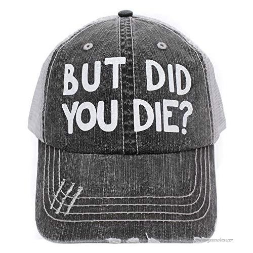 R2N fashions Women's Baseball caps But Did You Die Trucker Style hat Black/Grey