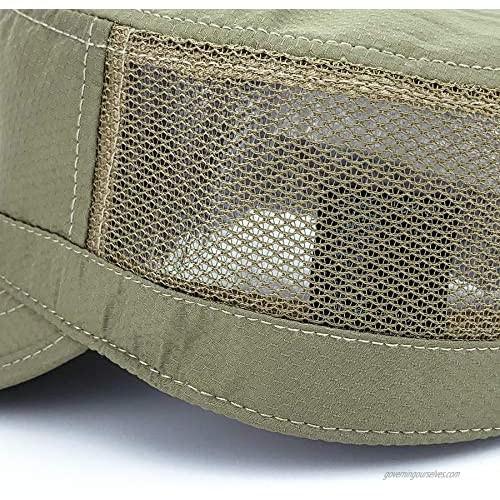 Rayna Fashion Hidden Pocket Cadet Army Hat Quick Dry Military Flat Top Baseball Dad Sun Cap Mesh Back
