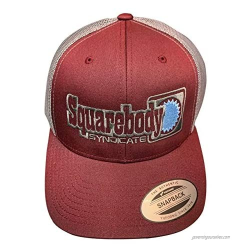 Squarebody Syndicate Classic Maroon and Gray Snapback Curved Bill hat for Men