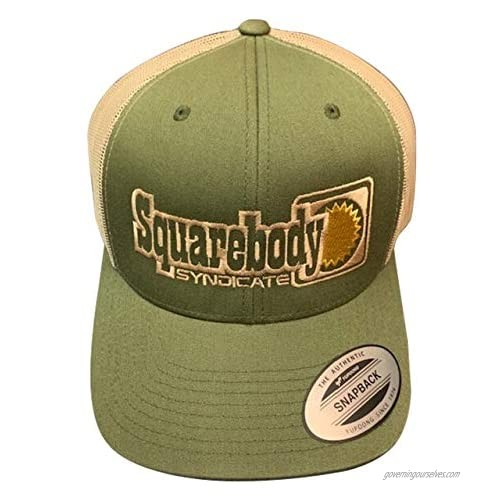 Squarebody Syndicate Green and Khaki Vintage Snapback Curved Bill Hat for Men