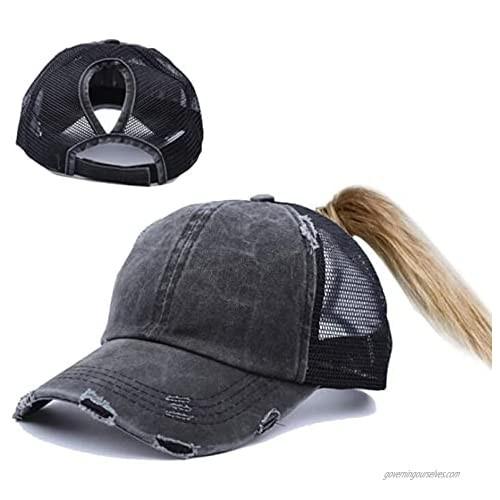 Women's Messy-High-Bun Ponytail-Baseball-Sun-Hat with Ponytail-Hole…