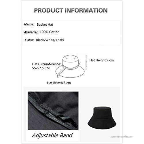 AMAKU Bucket Hats Cotton Packable UV Protection Sun Hats Summer Beach Hats for Women Black