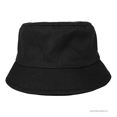 CHIC DIARY Unisex Cotton Bucket Hat Packable Summer Travel Beach Sun Hat for Women Men Outdoor Fisherman Cap Black