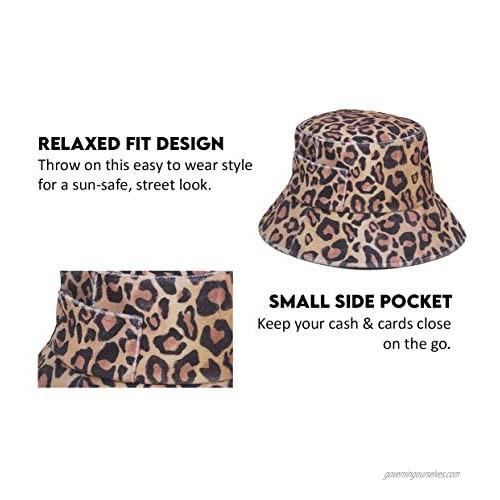 Lack of Color Women's Wave Terrycloth Bucket Hat (Leopard Medium/Large)