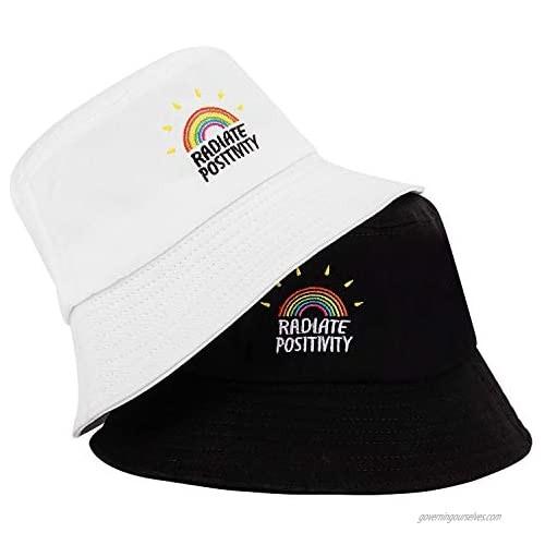 MNXA 2 Pack Rainbow Bucket Hat 100% Cotton Embroidered HatCute Sun CapFoldable Beach Hat for Women Men
