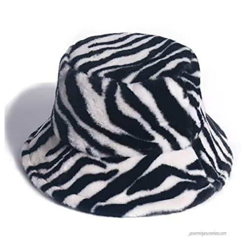 Newfancy Women's Zebra Print Faux Fur Bucket Hat Warm Fuzzy Fluffy Winter Warmer Fisherman Cap Black