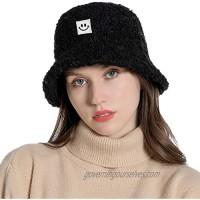 OVOY Winter Faux Fur Bucket Hat Fluffy Fisherman Hat for Women