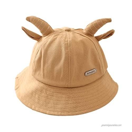Sivilady Cute Ox Horn Ears Bucket Hat Unisex Fun Hat Outdoor Summer Fisherman Sun Hat