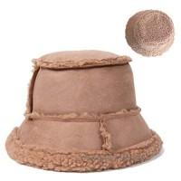 UU BEN Winter Bucket Hat for Women Reversible Suede Lamb Wool Bucket Hat Solid Color Fisherman Hat for Women