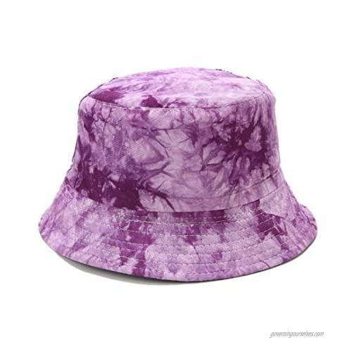Vintage Reversible Bucket Hat Fisherman Hats Washable Cotton (Purple)