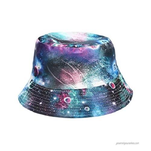 Vintage Reversible Bucket Hat Fisherman Hats Washable Cotton (Ravishing Nebula Blue)