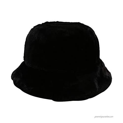 Women Girls Tie Dye Rainbow Fuzzy Faux Fur Warm Bucket Hat Winter Fisherman Cap (A-Black)