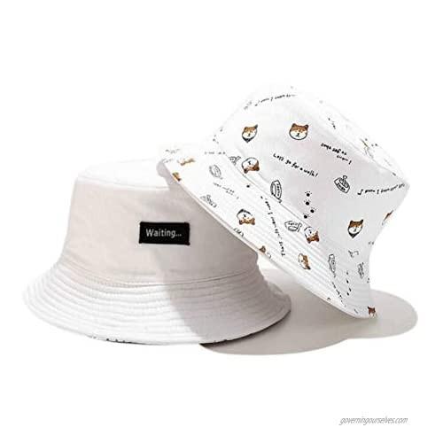 ZGMYC Reversible Double-Sided Cotton Bucket Hat Cute Dog Print Summer Beach Sun Hat Fisherman Hat for Men Women