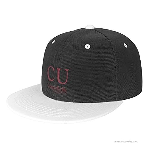 Casider Campbellsville A University Hat Unisex Trucker Hat Hip Hop Plaid Flat Bill Brim Adjustable Baseball Cap White