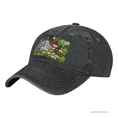 Cute Monkeys in Jungle Adult Casual Cowboy HAT  Mens Adjustable Baseball Cap  Hats for MENCute Monkeys in Jungle Black