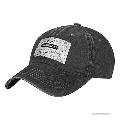 NOTZERO Mathematics Print Adult Casual Cowboy HAT Mens Adjustable Baseball Cap Hats for MENMathematics Print Black