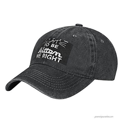 NOTZERO Meow Adult Casual Cowboy HAT  Mens Adjustable Baseball Cap  Hats for MENMEOW Black