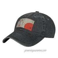 Umbrella Cherry Blossom Adult Casual Cowboy HAT  Mens Adjustable Baseball Cap  Hats for MENUmbrella Cherry Blossom