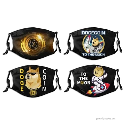 4pcs Dogecoin Face Mask Reusable Dustproof Adjustable Coin Doge to The Moon Bandana Crypto Currency Fask Mask for Mens Womens