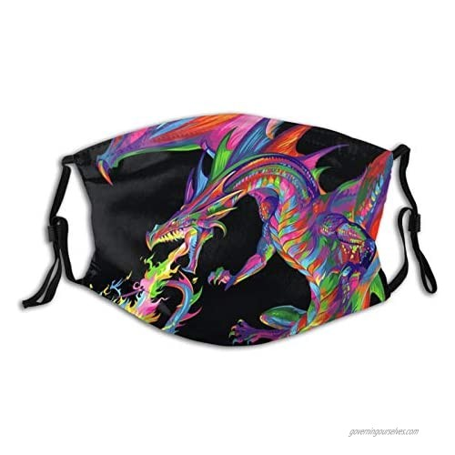 Animal Dragon Face Mask for Adults Men Women  Washable Cloth Face Bandanas Balaclava Comfortable Reusable with 2 Filter