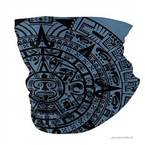 Aztec Maya Calendar Neck Gaiters Sun Uv Protection Headwear Cooling Sunblock Bandana Balaclava Summer Seamless Face Mask Magic Scarf Headwear for Men Women Outdoor