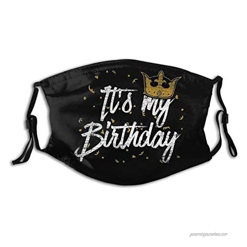 Birthday Printed Face Mask  Decorative|Adjustable  With 2 Filters Gift For Men And Women Balaclava Bandana