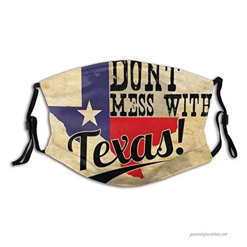 Dont Mess With Texas Vintage Face Mask With Filter Pocket Washable Reusable Face Bandanas Balaclava With 2 Pcs Filters