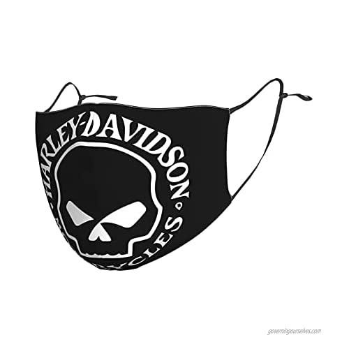 Harley Davidson Men Women's Face Mask Washable Face Mask with Adjustable EarLoops Bandana Balaclava Mouth Cover