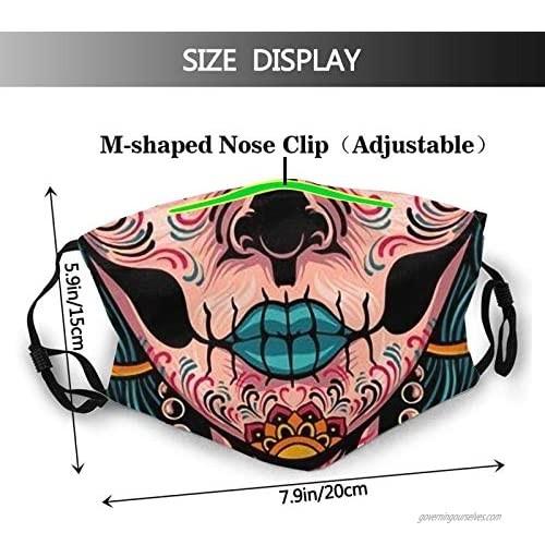 Sugar Skull Face Mask Fashion Balaclava Washable Reusable Bandana Scarf with 2 Filter for Men & Women