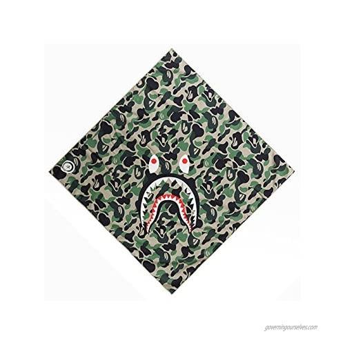 Xshelley Camouflage Green Shark Versatile Face Mask Shields - Casual Balaclava Headwear- Stretchable Bandana Headbands- Wind/Sun/UV Protection- for Cycling Motorcycling  Fishing  Hunting  Hiking