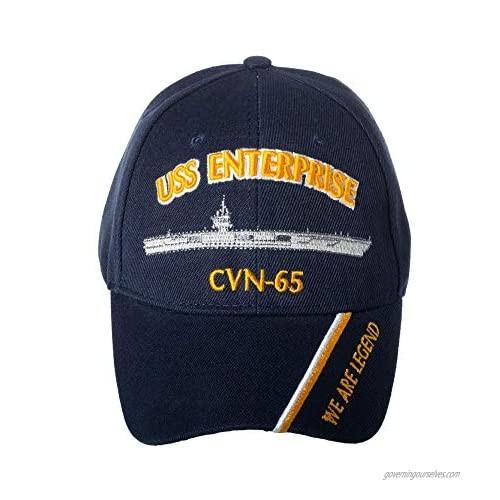 Artisan Owl Officially Licensed USS Enterprise CVN-65 Embroidered Navy Blue Baseball Cap