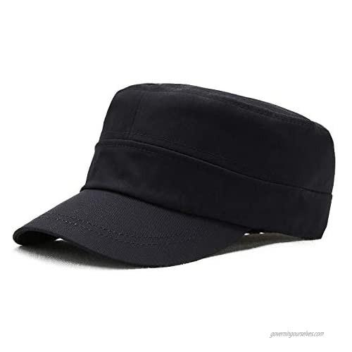 Fasbys Unisex Military Hat Men Women 100% Cotton Twill Flat Top Baseball Cap Adjustable Cadet Cap