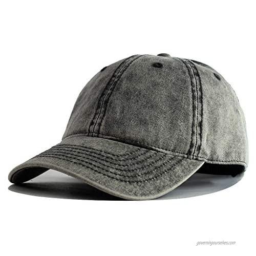 HH HOFNEN Vintage Distressed Washed Cotton Baseball Cap Adjustable Twill Low Dad Hat Unisex Style Headwear