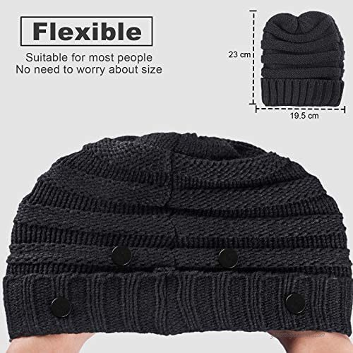 Beanie for Men Women Winter Knit Acrylic Beanie Hat Warm & Stretchy with 4 Extra Buttons to Hold Face Mask