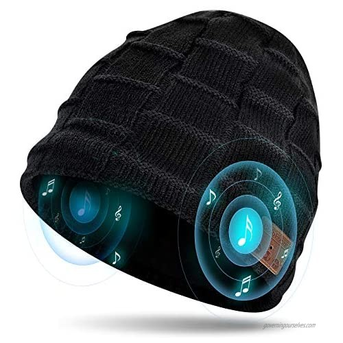 ColoFocus Bluetooth Beanie Hat for Men  Music Hat Christmas Beanie Hat  Unique Winter Sports Gifts for Men Husband Boys