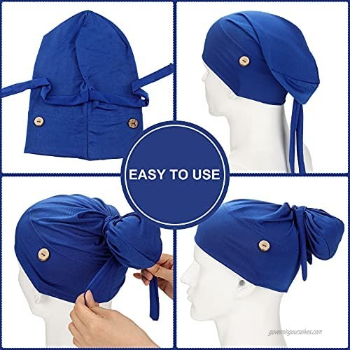 Foaincore 3 Pieces Soft Bouffant Caps with Buttons with Stretchy Ribbon Tie Gourd-Shape Caps Stretch Bouffant Hats Unisex Stretchy Headband Turban with Ear Loop Holder Buttons