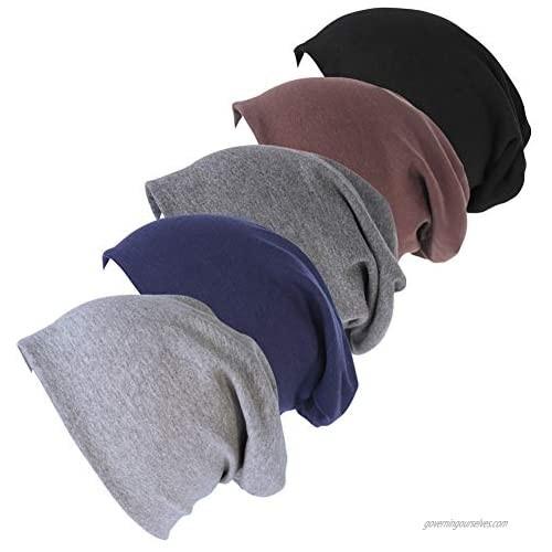 Guozyun Mens Beanie Hats Cotton Skull Caps Hip-hop Hat Soft Stretch Slouchy Cap