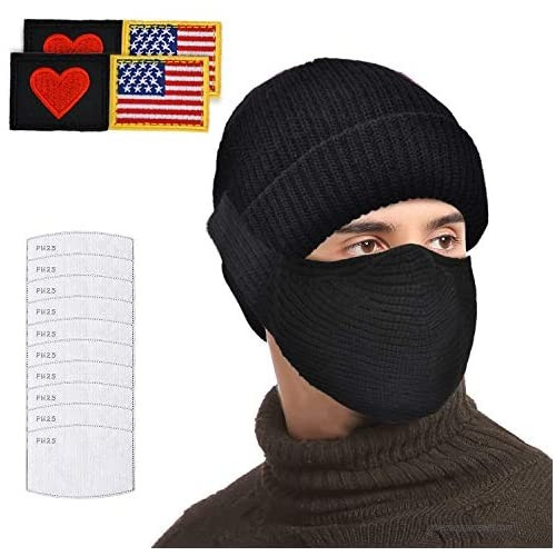 LOKASS Unisex Knitted Beanie Warm Winter Hat with Detachable Face Mask 10 PCS Filters for Women Men