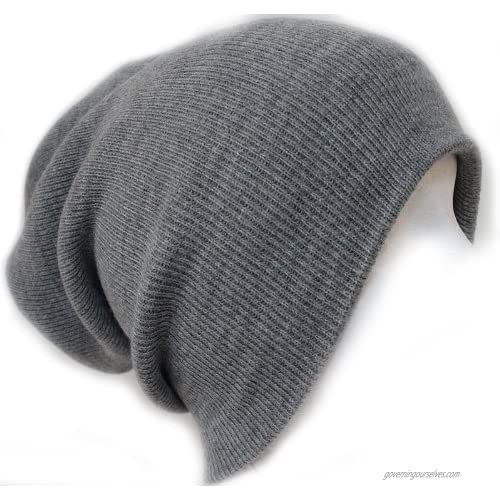 Slouchy Beanie Slouch Skull Hat Ski Hat Snowboard Hat Ribbed Beanie One Size Light Grey