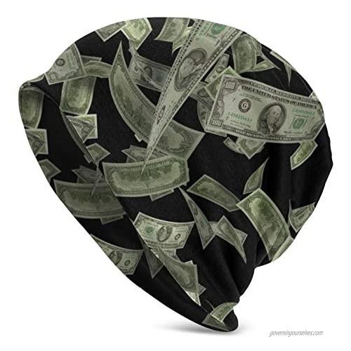 Unisex Beanie Caps United States Hundred Money Symbol Dollar Slouchy Cuff Skull Knit Hat Cap Winter Summer Warm Ski Hats Snapback Black